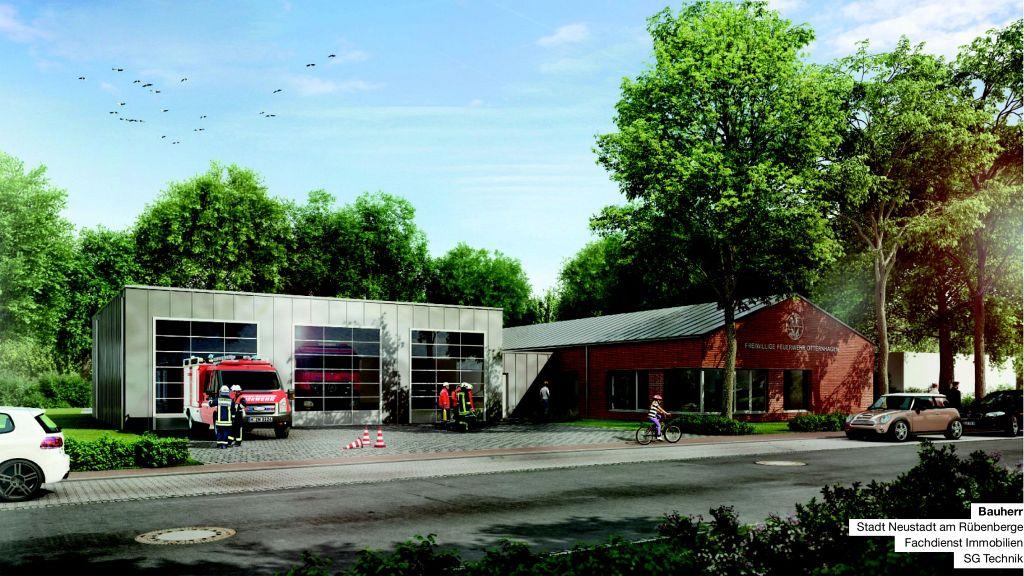 So soll es einmal aussehen: Das neue Feuerwehrgerätehaus Otternhagen. Auf der linken Seite befindet sich die Fahrzeughalle, Rechts daneben das Dienstgebäude mit Betriebs-, Verwaltungs- und Schulungsräumen.