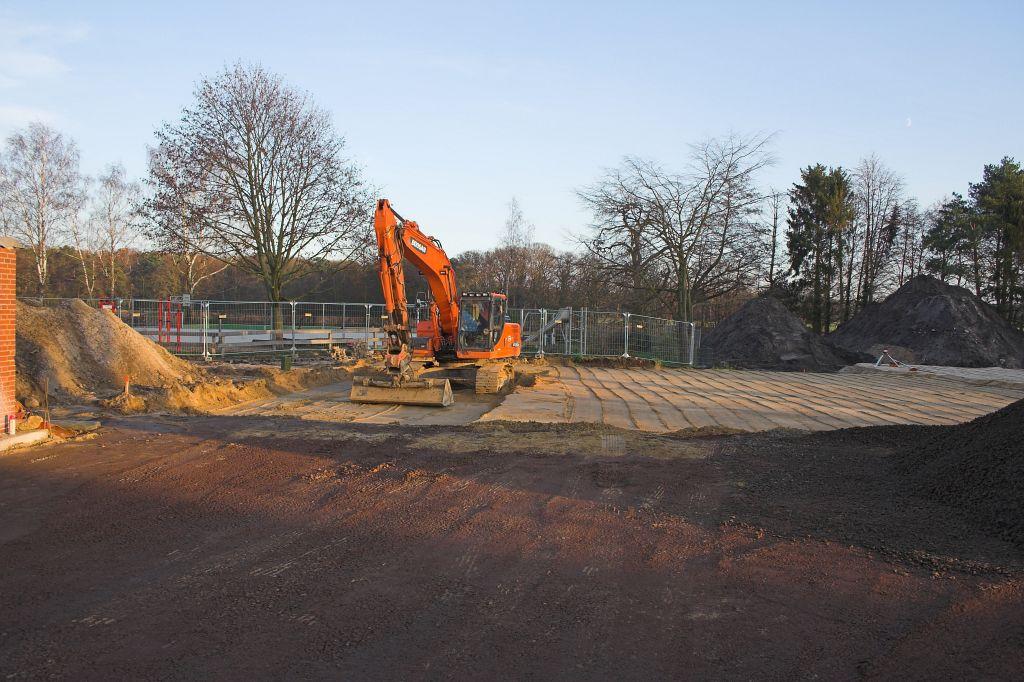 Das Foto zeigt den zukünftigen Standort der Fahrzeughalle des Feuerwehrgerätehauses.